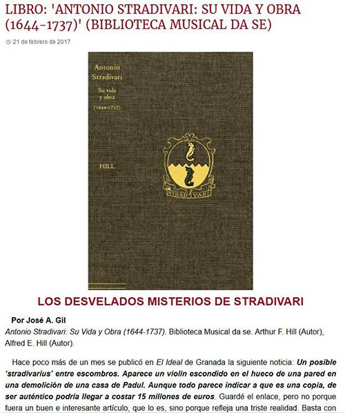 Artículo de nuestro libro sobre la vida y obra de Stradivari en la revista CODALARIO